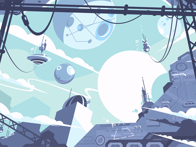 Space colony exploration planet station rocket colony space illustration vector flat kit8