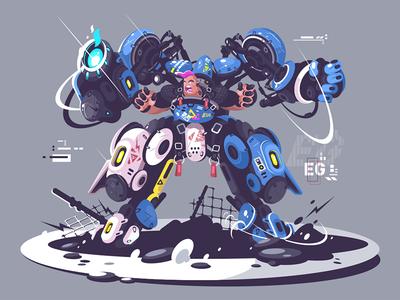 Brutal guy in combat exoskeleton kit8 flat vector illustration robot exoskeleton brutal guy equipment character technology