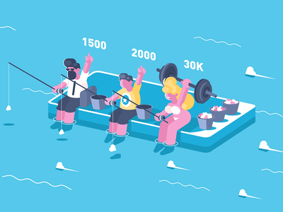 Competitions in number of likes character user achievement number like network social competition illustration vector flat kit8