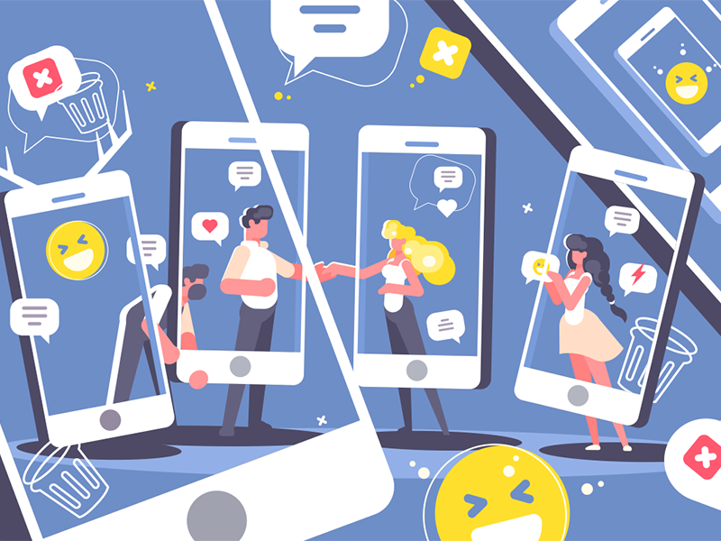 Digital mirror character message social smartphone internet network mirror communication illustration vector flat kit8