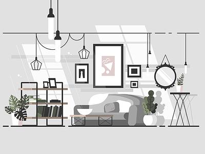 Cozy living room furniture living cozy home interior sofa room apartment illustration vector flat kit8