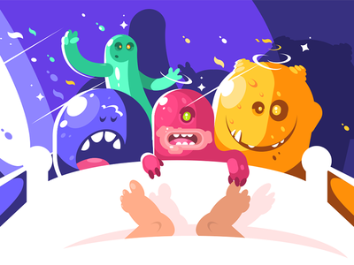 Cute monsters character bizarre tickle sleeping funny cute night monster illustration vector flat kit8