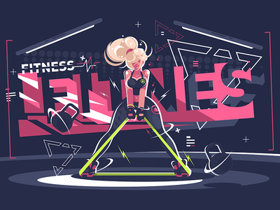 Fitness instructor character gym lifestyle exercise woman girl instructor fitness illustration vector flat kit8