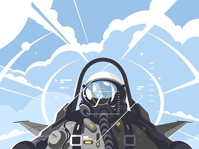 Fighter pilot in cockpit character sky flight airplane cockpit aircraft fighter pilot illustration vector flat kit8