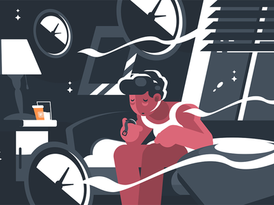 Man suffers from insomnia character night sleepy tired bed insomnia man illustration vector flat kit8