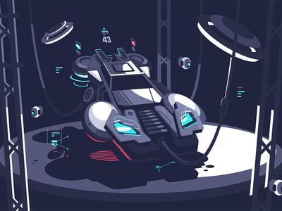 Racing car transport racing fly shape future speed car illustration vector flat kit8