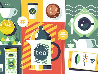 Tea time background drink breakfast time vintage beverage teapot tea illustration vector flat kit8