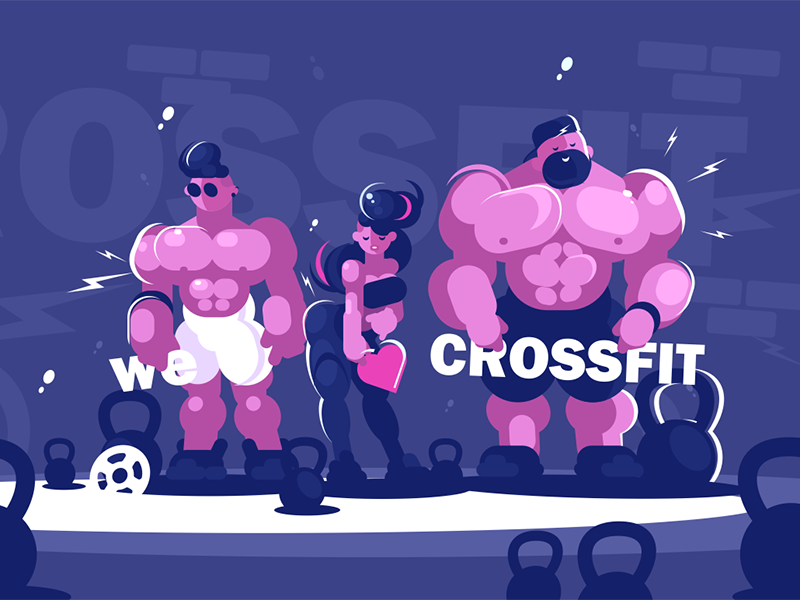 Man and woman training character musculature cross woman man bodybuilder training body illustration vector flat kit8