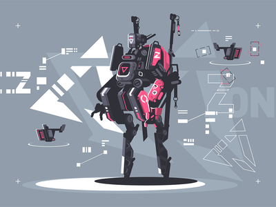 Robot drone character drone automation technologies artificial intelligence machine robotic illustration vector flat kit8