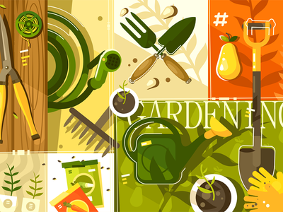 Gardening background tool secateurs shovel background garden gardening illustration vector flat kit8