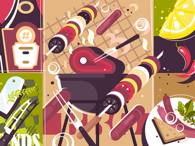 Barbecue background grill food background meat bbq barbecue illustration vector flat kit8