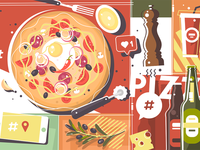 Pizza abstract background background italian fast cuisine restaurant lunch food pizza illustration vector flat kit8