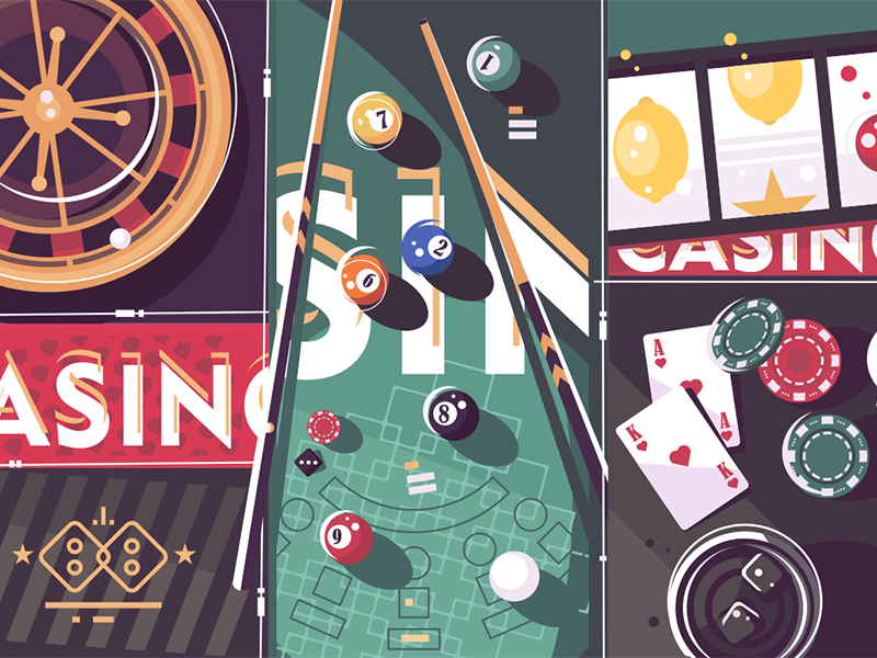 Gambling game background billiard roulette background vegas game gambling poker casino illustration vector flat kit8