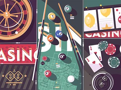 Gambling game background billiard roulette background vegas game gambling poker casino illustration vector flat kit8