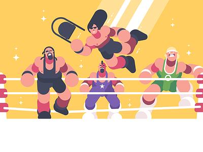 Strong wrestlers in ring character show fighter sport strong ring wrestler illustration vector flat kit8