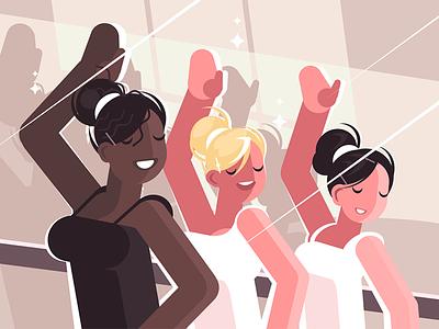 Dance class character ballerina learning class girl dance illustration vector flat kit8