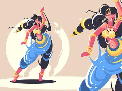 Indian girls dance character dress national traditionally girl dance indian illustration vector flat kit8