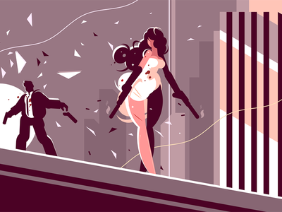 Attractive girl spy with gun character enemy shoot gun spy girl agent illustration vector flat kit8