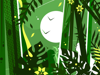 Green jungle background leaves branches forest tree background nature jungle illustration vector flat kit8
