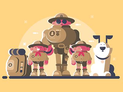 Scouts character children dog rucksack scout kit8 flat vector illustration