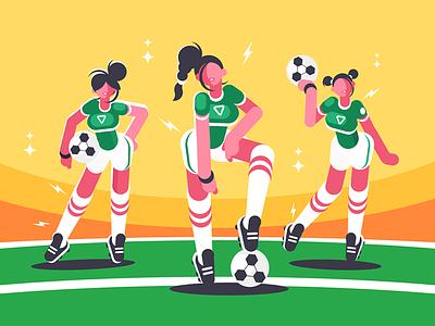 Football woman team character game sport soccer ball team woman football kit8 flat vector illustration