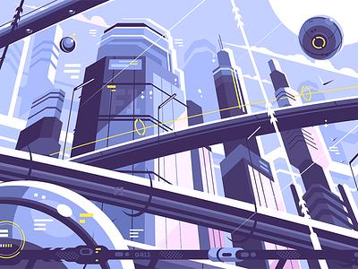 City metropolis of future hyperloop skyscrapers future metropolis city kit8 flat vector illustration