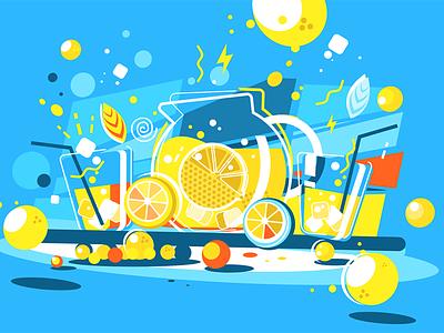 Lemonade lemon drink soft jug glass lemonade cool kit8 flat vector illustration