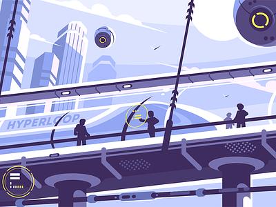 Hyperloop future public transport train tunnel suspended transport public future hyperloop kit8 flat vector illustration