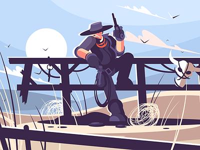 Cowboy character west wild bandit revolver hat cowboy brutal kit8 flat vector illustration