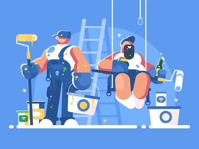 Brigade of painters character lunch builder rollers bucket painter brigade kit8 flat vector illustration