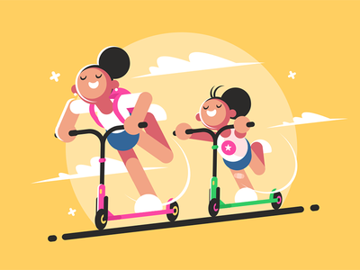 Girls riding kick scooter kit8 flat vector illustration character walk sport active scooter riding girl
