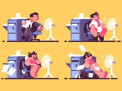 Man in office cooled by fan character air cool enjoys worker fan office man kit8 flat vector illustration