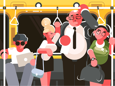 In subway car kit8 flat vector illustration character transport public hour rush car subway passengers