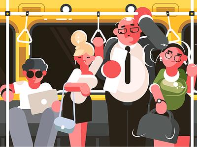 In subway car kit8 flat vector illustration character transport public hour rush car subway passengers