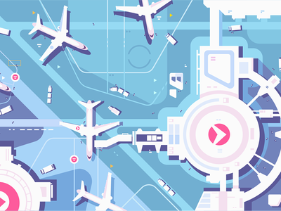 Terminal airport and runway above view strip landing airplanes airport terminal kit8 flat vector illustration