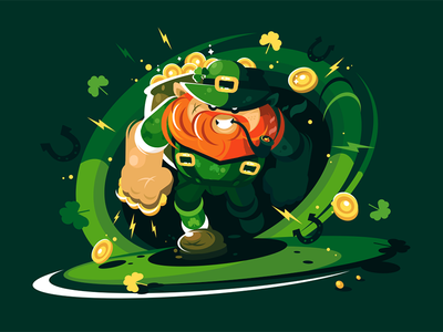 Angry leprechaun with gold clothes green gnome character fairy-tale gold leprechaun angry kit8 flat vector illustration