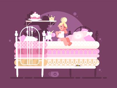 Little princess on pea character bed uncomfortable sleep girl pea princess little kit8 flat vector illustration
