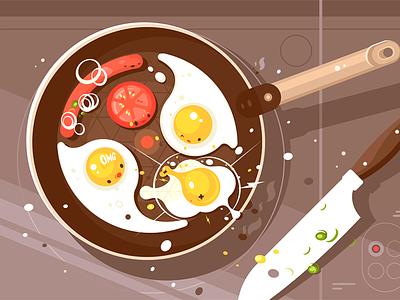 Fry scrambled eggs and sausage breakfast pan frying sausage egg scrambled delicious fry kit8 flat vector illustration