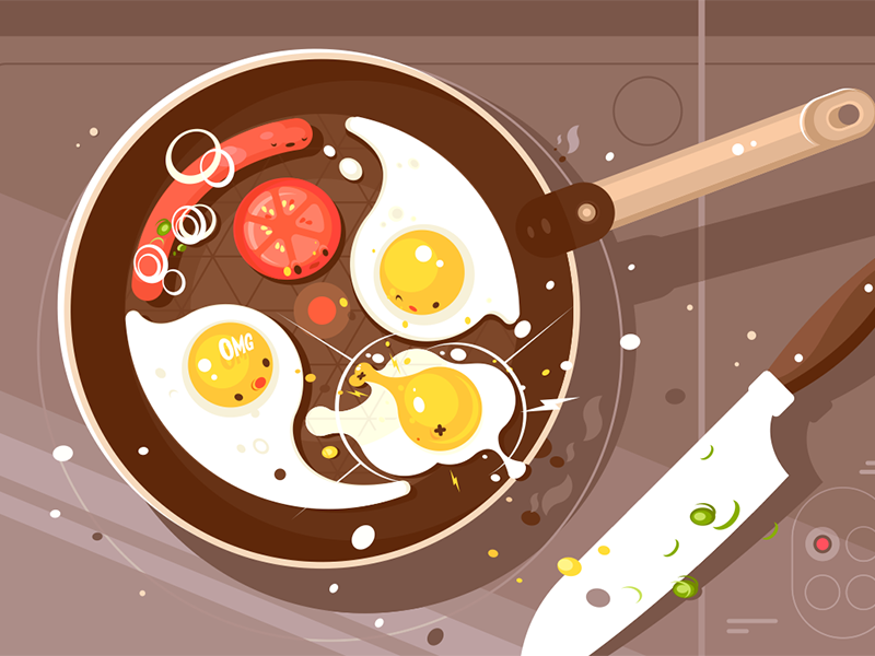 Fry scrambled eggs and sausage breakfast pan frying sausage egg scrambled delicious fry kit8 flat vector illustration