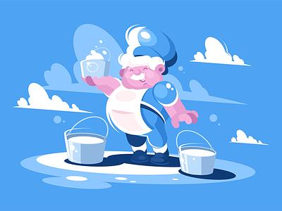 Cheerful milkman character product dairy milk cream bucket milkman cheerful kit8 flat vector illustration