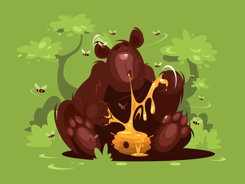 Brown bear character forest green honey sweet eat bear brown kit8 flat vector illustration