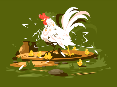 Rooster with yellow chickens character farm family bird chicken yellow rooster kit8 flat vector illustration