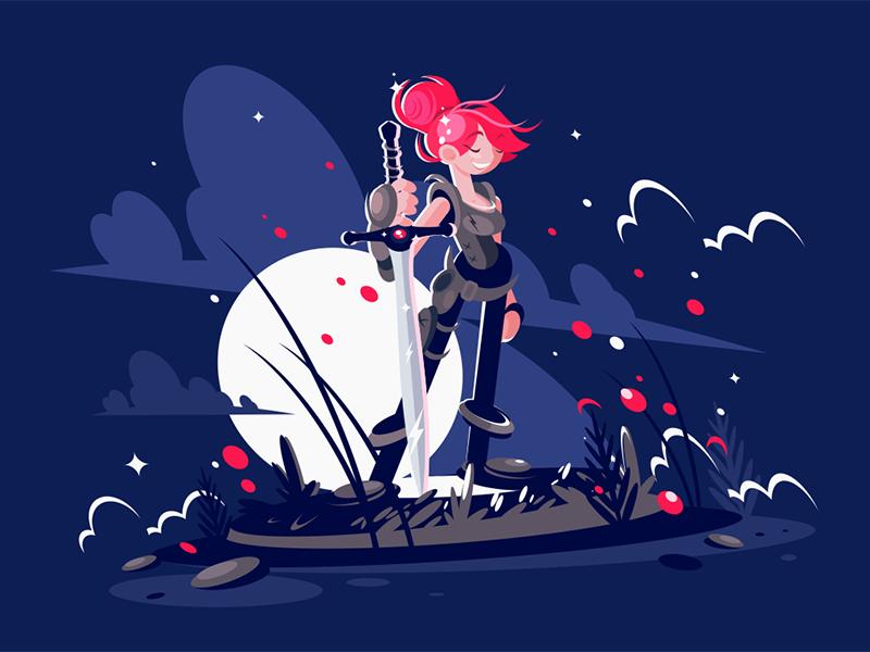Woman warrior hero with sword character moonlight battlefield armor sword warrior woman kit8 flat vector illustration