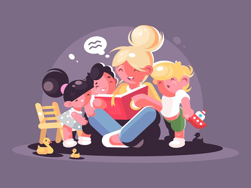 Mom reads fairy tale book for kids character children group teacher kids tale book read mom kit8 flat vector illustration