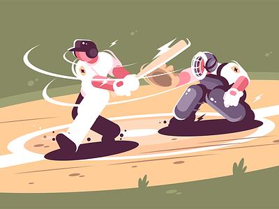 Batter strikes the ball in baseball character game beats man young action baseball ball strikes batter kit8 flat vector illustration