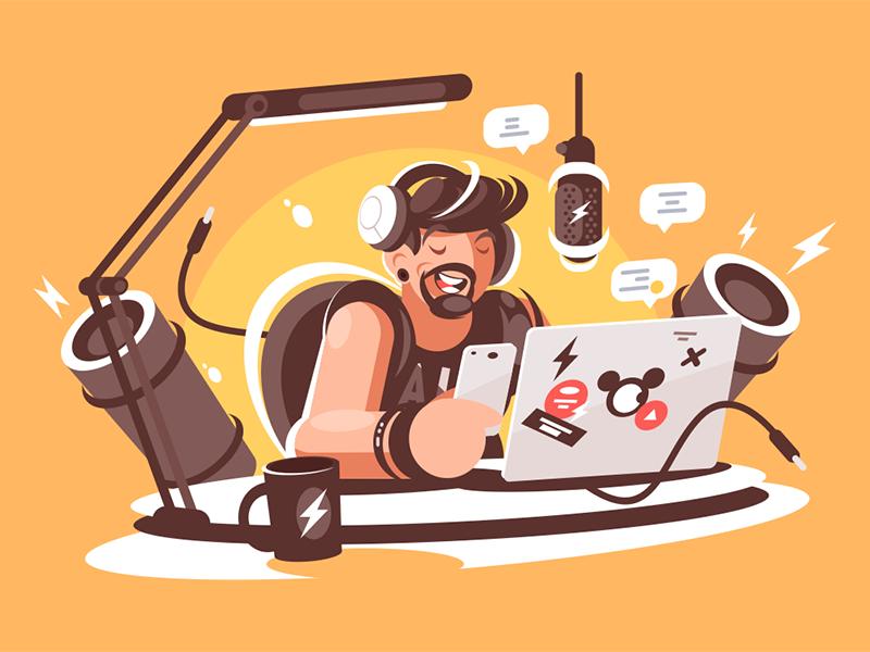 Radio presenter in studio character online show leads beard man studio broadcasting presenter radio kit8 flat vector illustration
