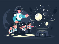 Guide with children in planetarium