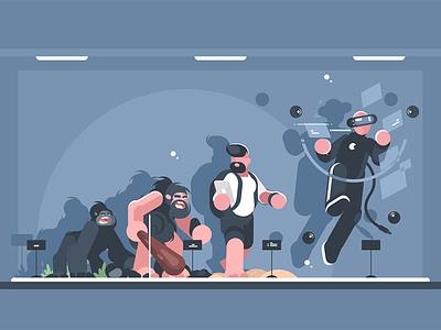 Evolution of man character reality virtual smartphone person sapiens homo monkey man evolution kit8 flat vector illustration