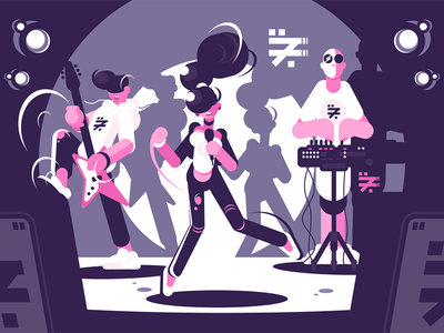 Musical band group concert character stage performing guitar concert group band musical kit8 flat vector illustration