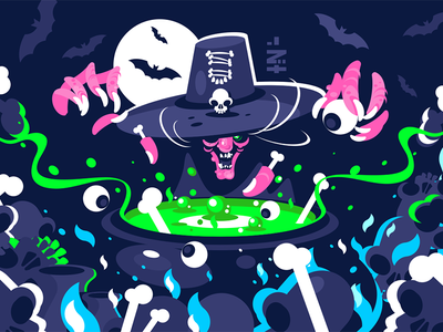 Halloween witch preparing potion character hag ugly cauldron potion magic preparing witch halloween kit8 flat vector illustration